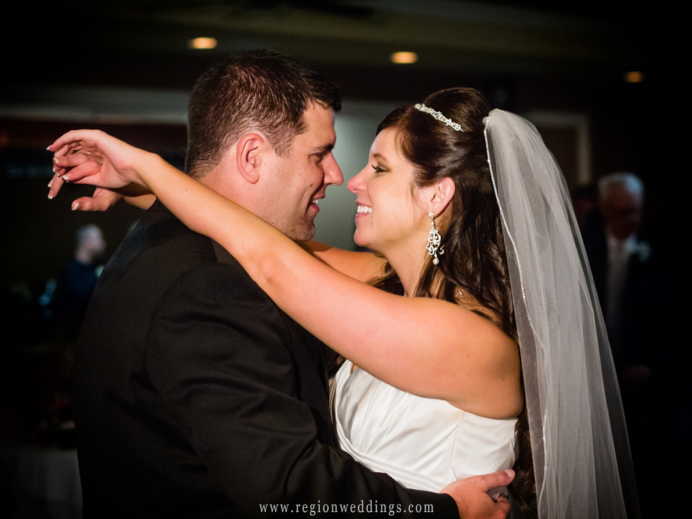First dance for the bride and groom at White Hawk Country Club in Crown Point, Indiana.