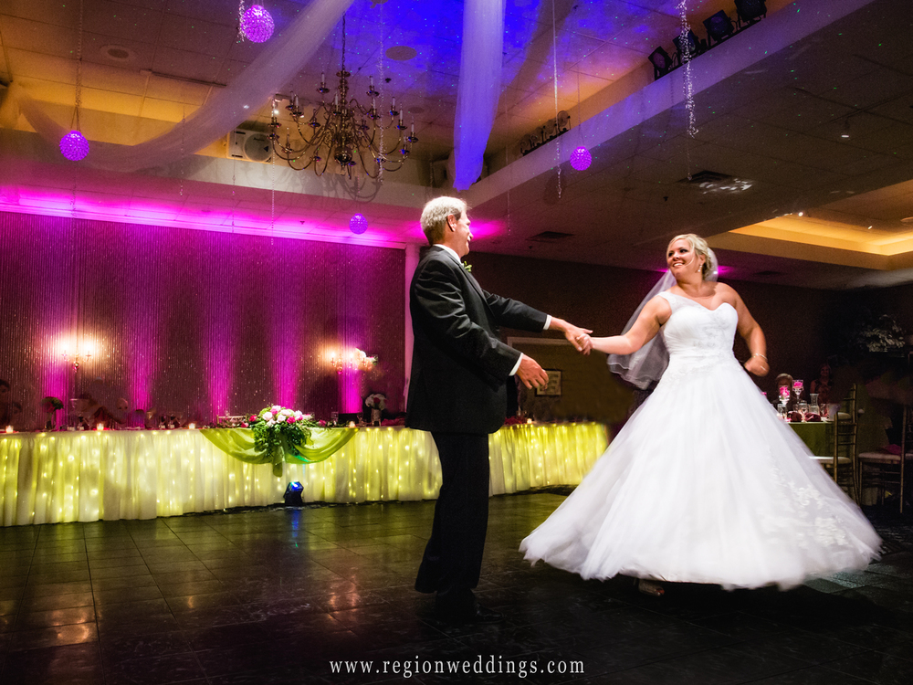 Father and bride dance together at Aberdeen Manor in Valparaiso, Indiana.