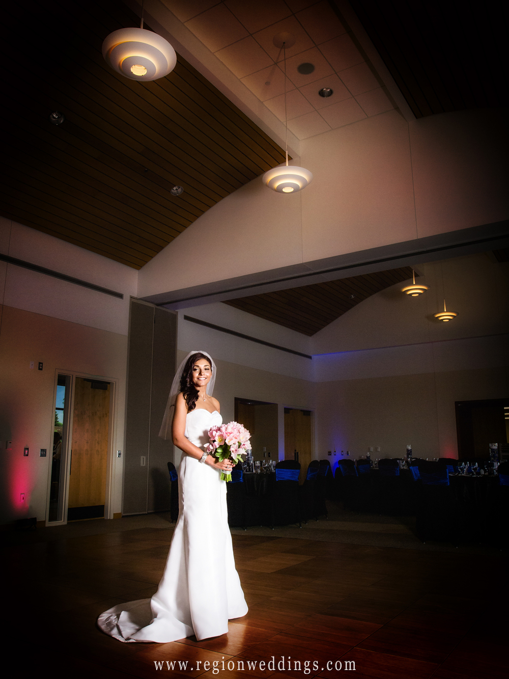 A spotlight shines upon the bride for her wedding portrait at Centennial Park in Munster, Indiana.
