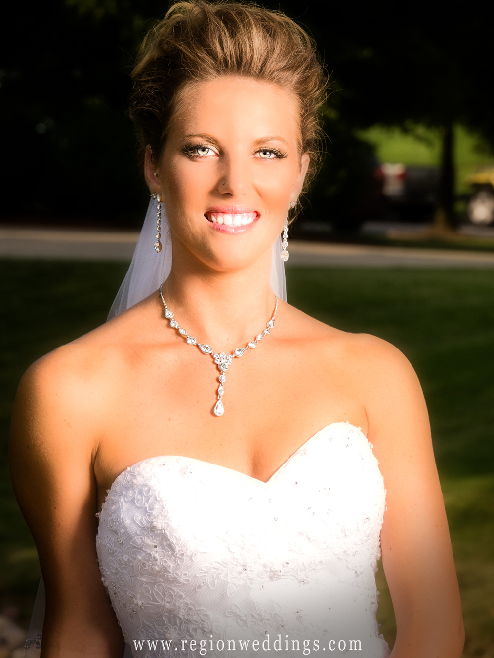 A pretty bride in a portrait taken at Ellendale Farm near downtown Crown Point.