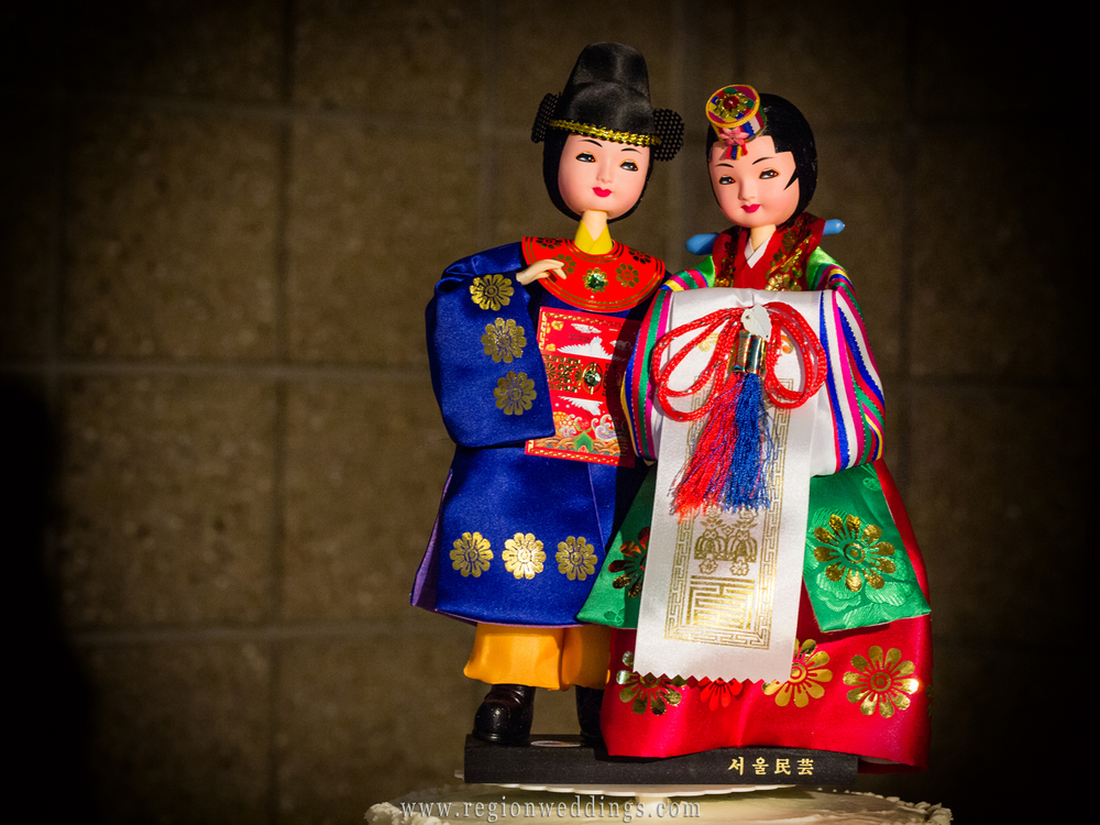 Korean wedding cake toppers from an Asian - American wedding reception in Merrillville, Indiana.