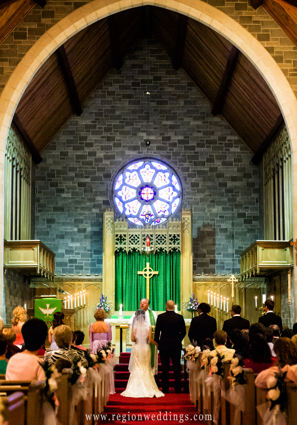 An Asian and American wedding ceremony at Trinity Lutheran Church in Crown Point, Indiana.