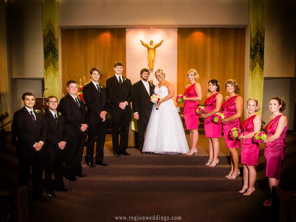 Wedding party group photo at St. Elizabeth Ann Seton Church.
