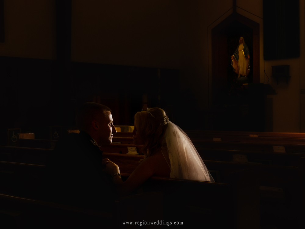 An intimate bride and groom photo taken at St. Mary's Church in Griffith, Indiana.