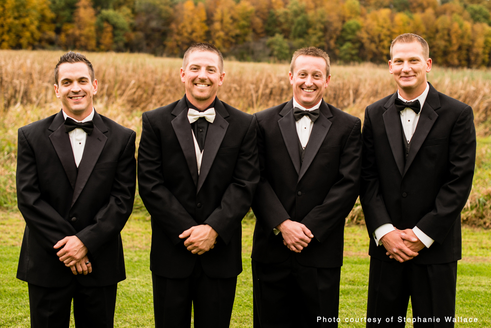 The groomsmen pose for Fall portraits in Crown Point.