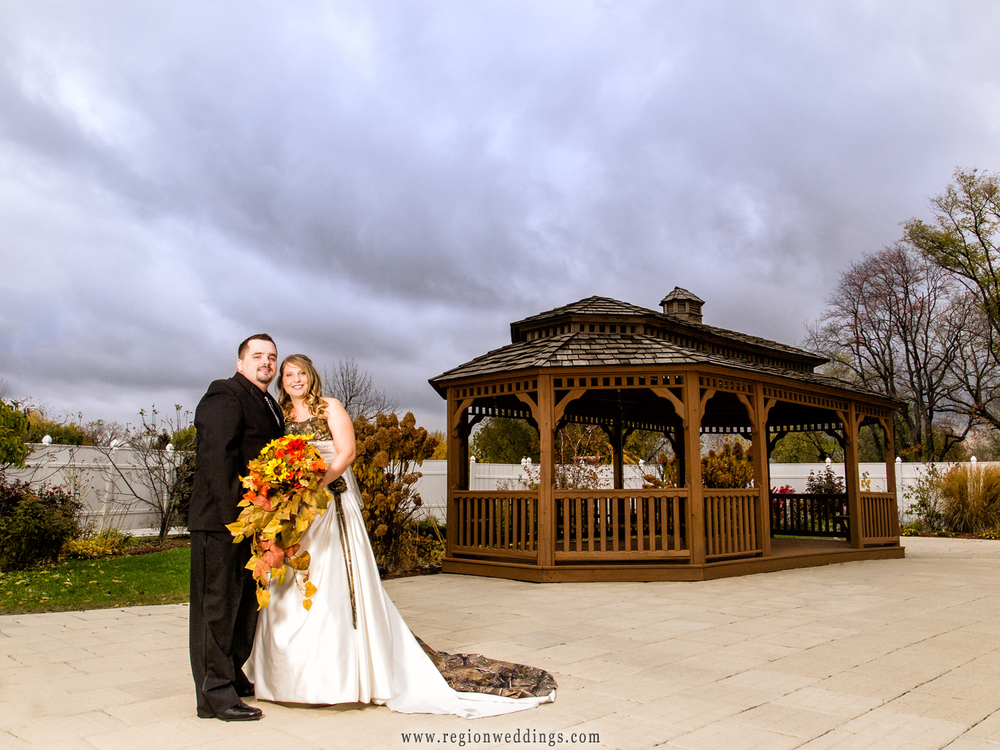 Bride and groom outside The Patrician gazebo in Schererville, Indiana.