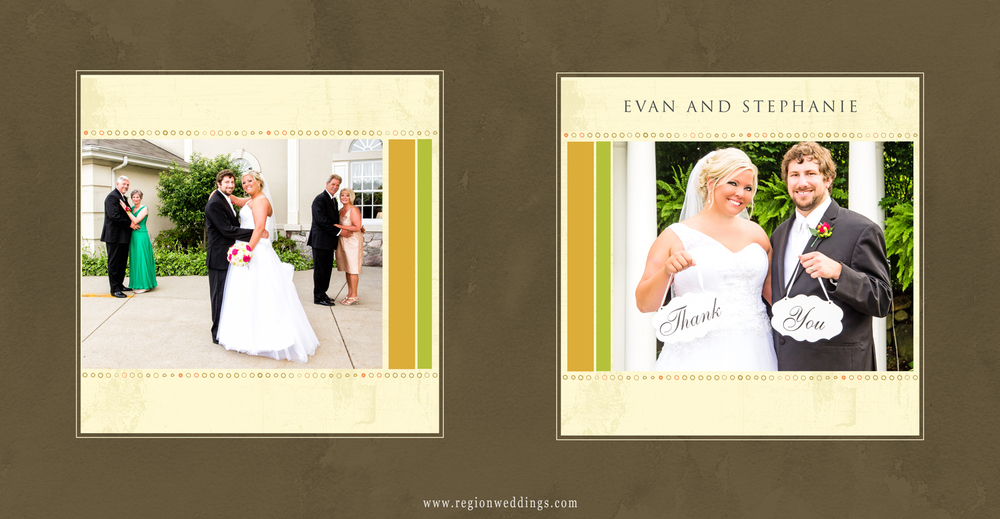 The front and back cover of a custom designed wedding day Mom's Brag Book.