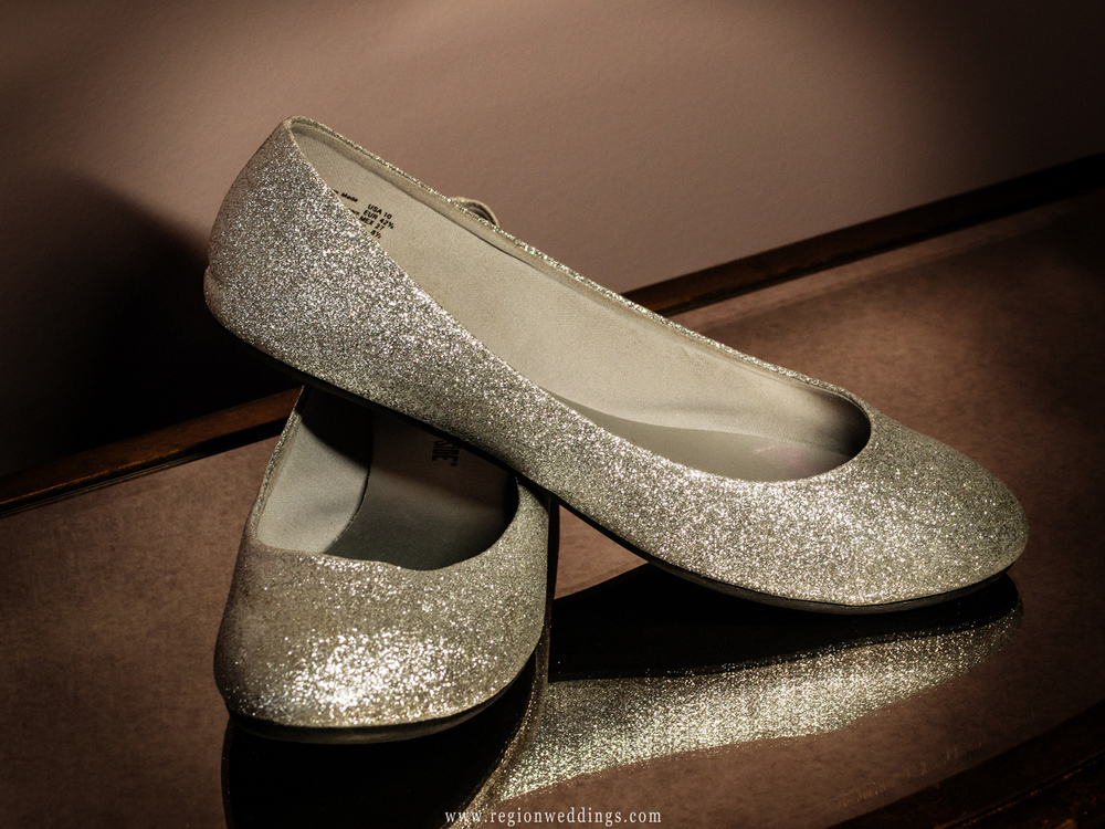 Sparkling silver wedding shoes.