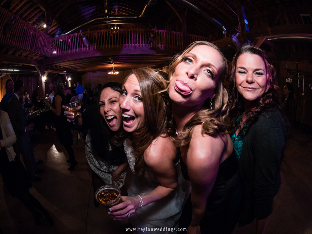 Girls have fun on the dance floor at a wedding reception in Hobart, Indiana.