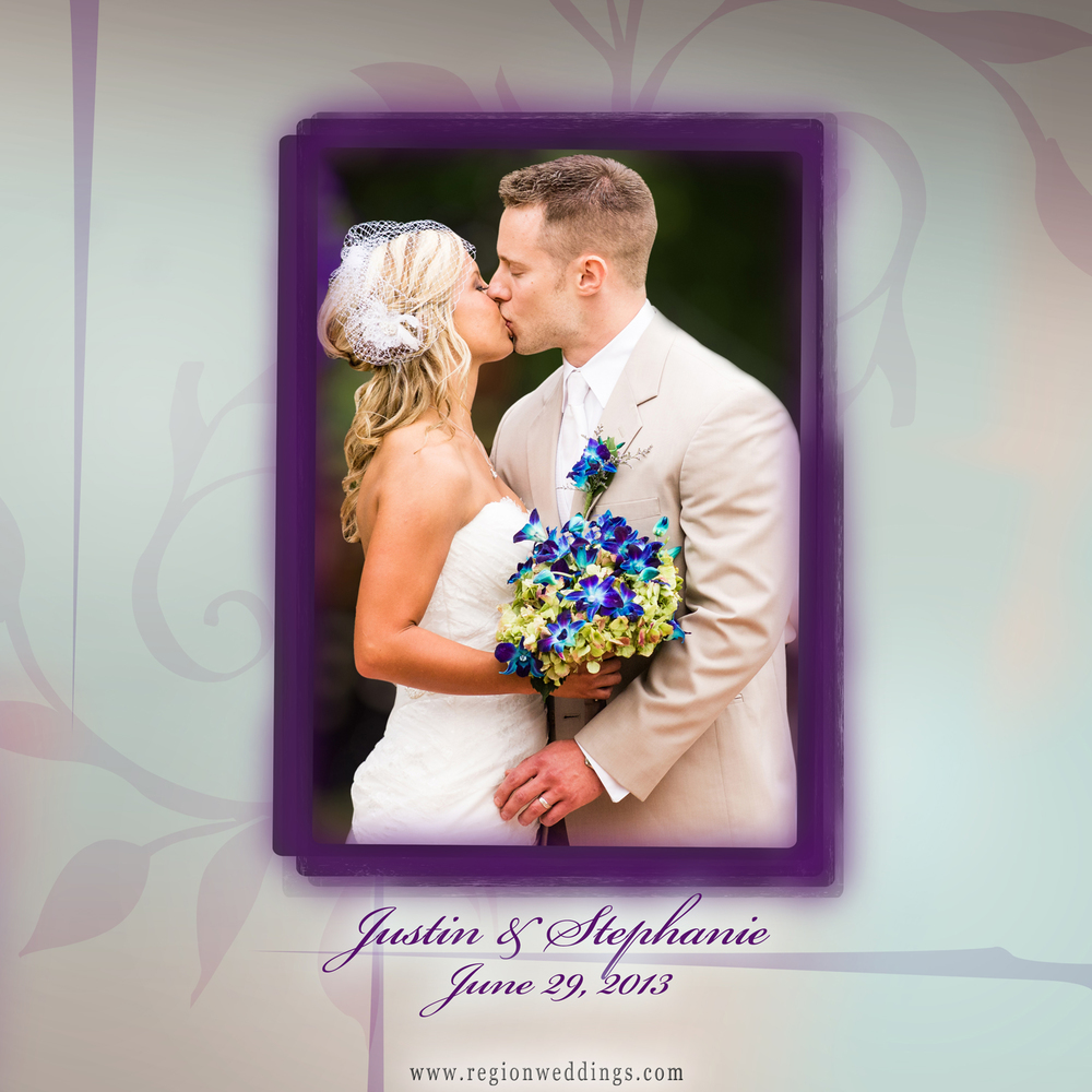 The front cover of a wedding album adorned with purple flowers.