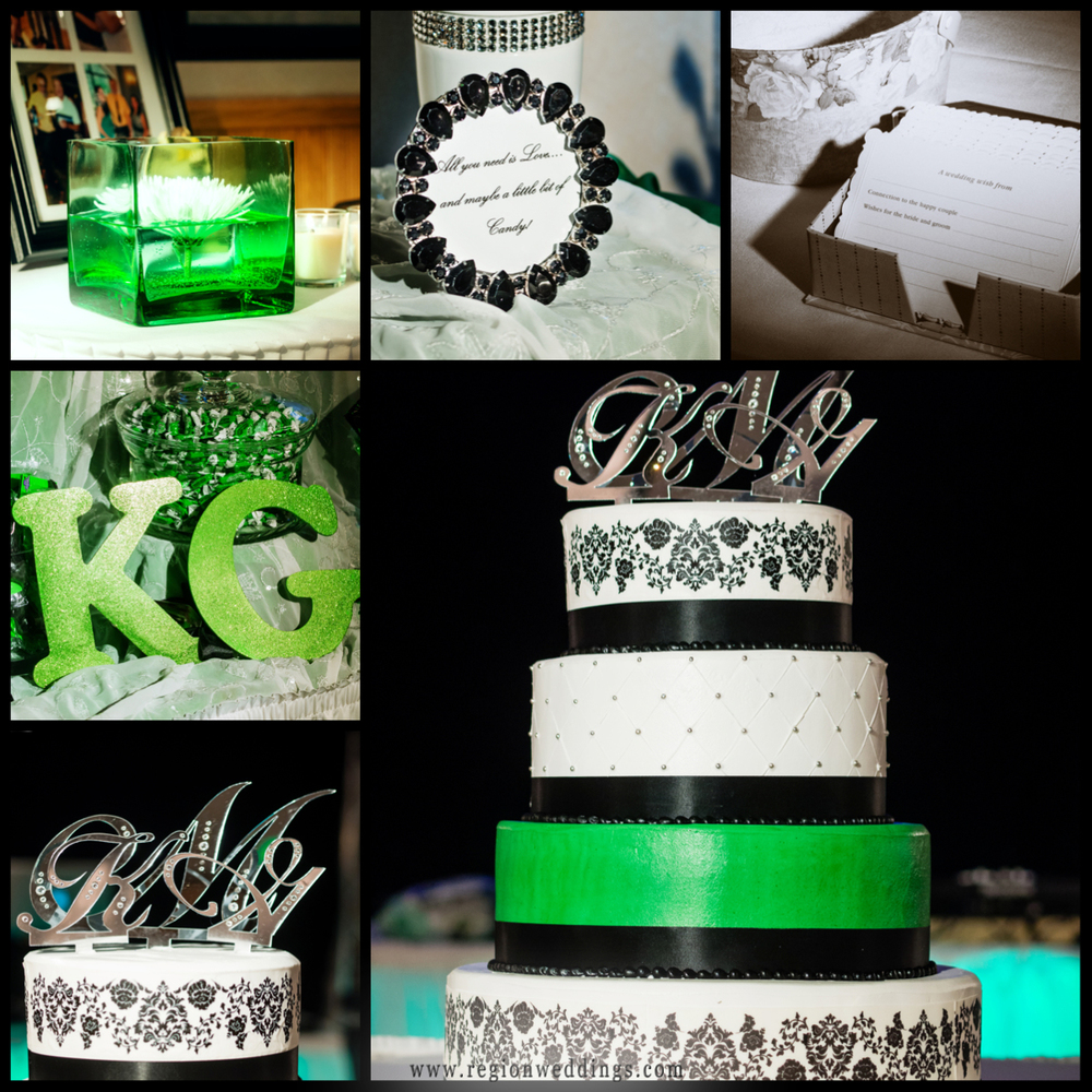 Green, silver and black wedding decorations at The Patrician banquet hall.