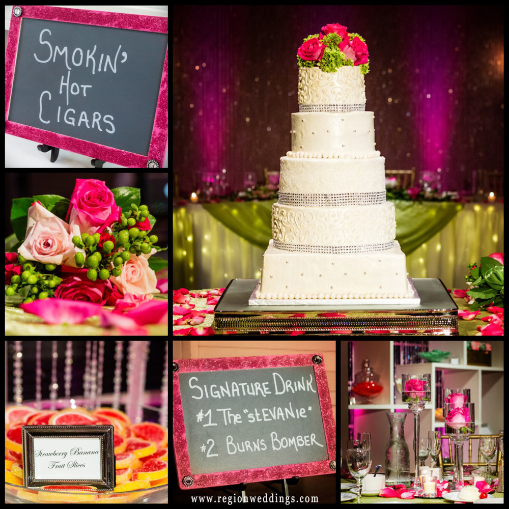 A collection of wedding reception decorations featuring the color pink.