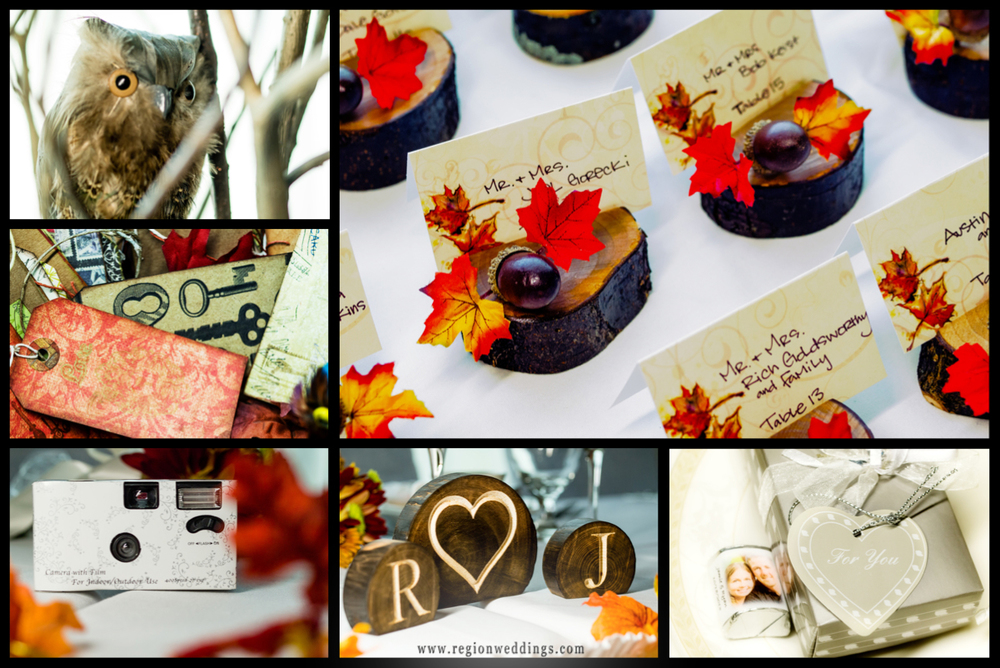 A collection of rustic wedding decorations in Autumn colors.