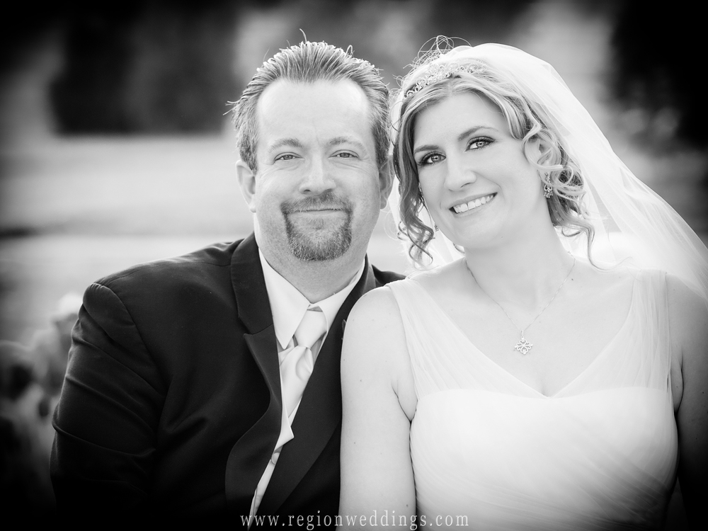 A bride and groom portrait just outside Casa Maria Banquet Hall in Dyer, Indiana.