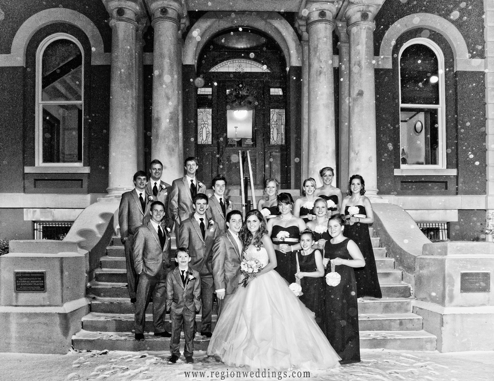 Winter wedding photo in downtown Crown Point.
