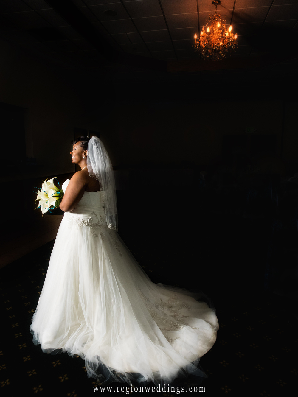 The bride shows off the back of her dress in this dramatic bridal portrait.