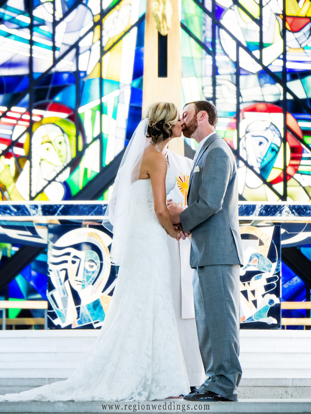 First kiss for the bride and groom at Valparaiso University.