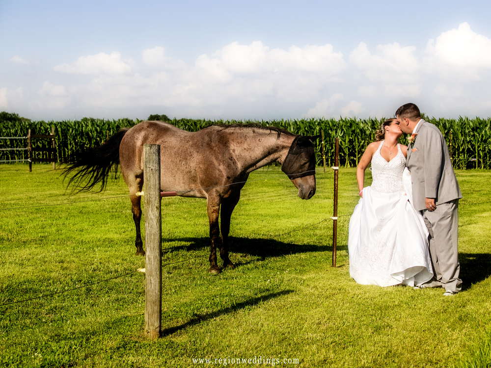 The bride and groom kiss as a curious horse looks on.
