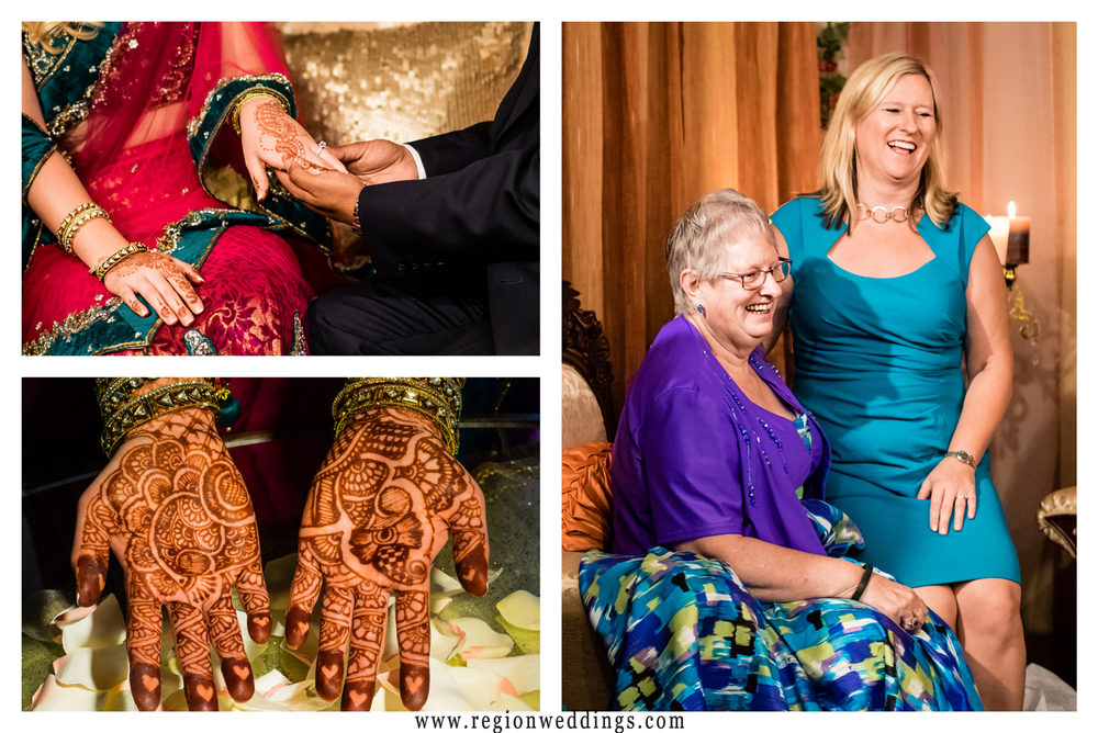 A collage of images from an Indian American engagement party.