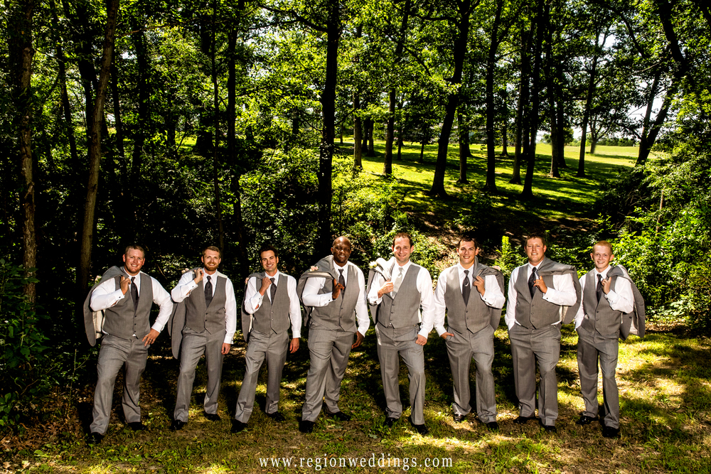 The groomsmen pose for a casual shot at Lemon Lake Park before the wedding ceremony.