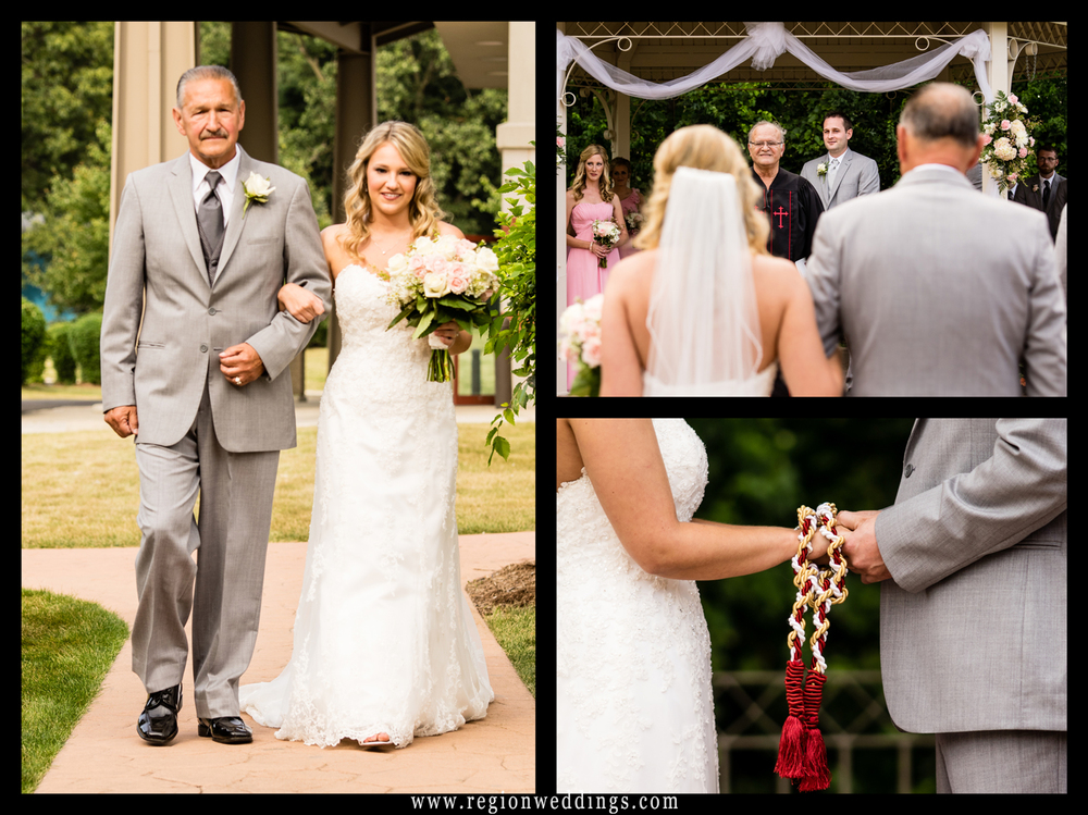 A montage of images from an outdoor wedding ceremony at the Halls of St. George.
