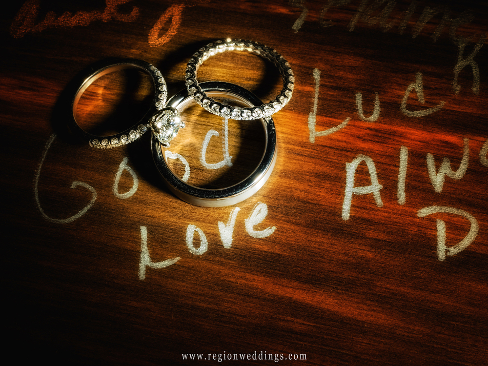 Photo of the wedding rings on top of a signature board