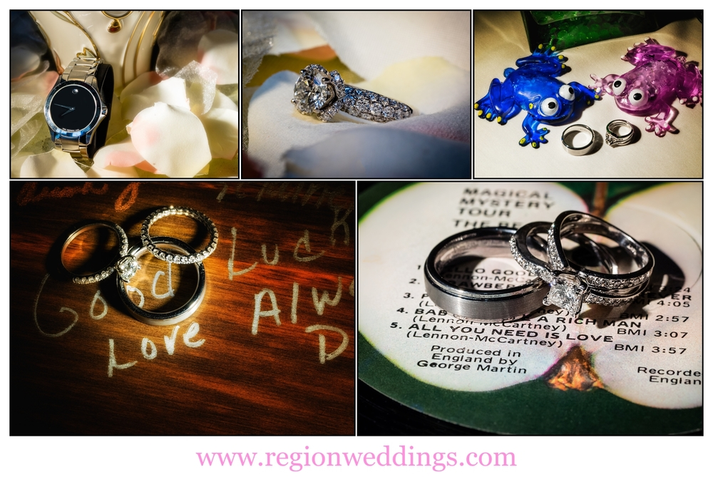 Wedding ring photo collage.