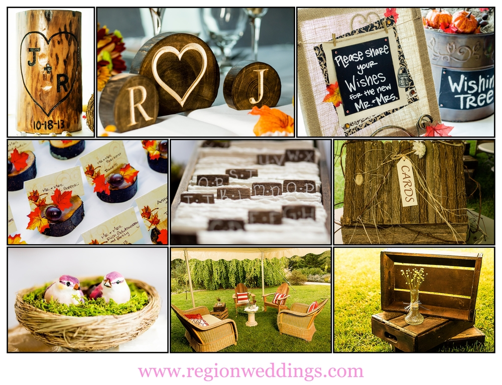 Fall wedding decorations photo collage.