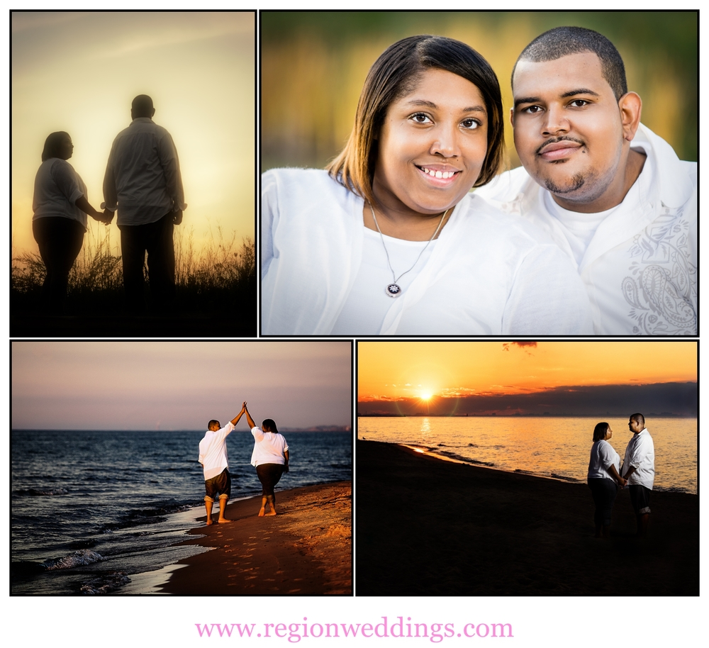 Indiana Dunes beach engagement photo collage.