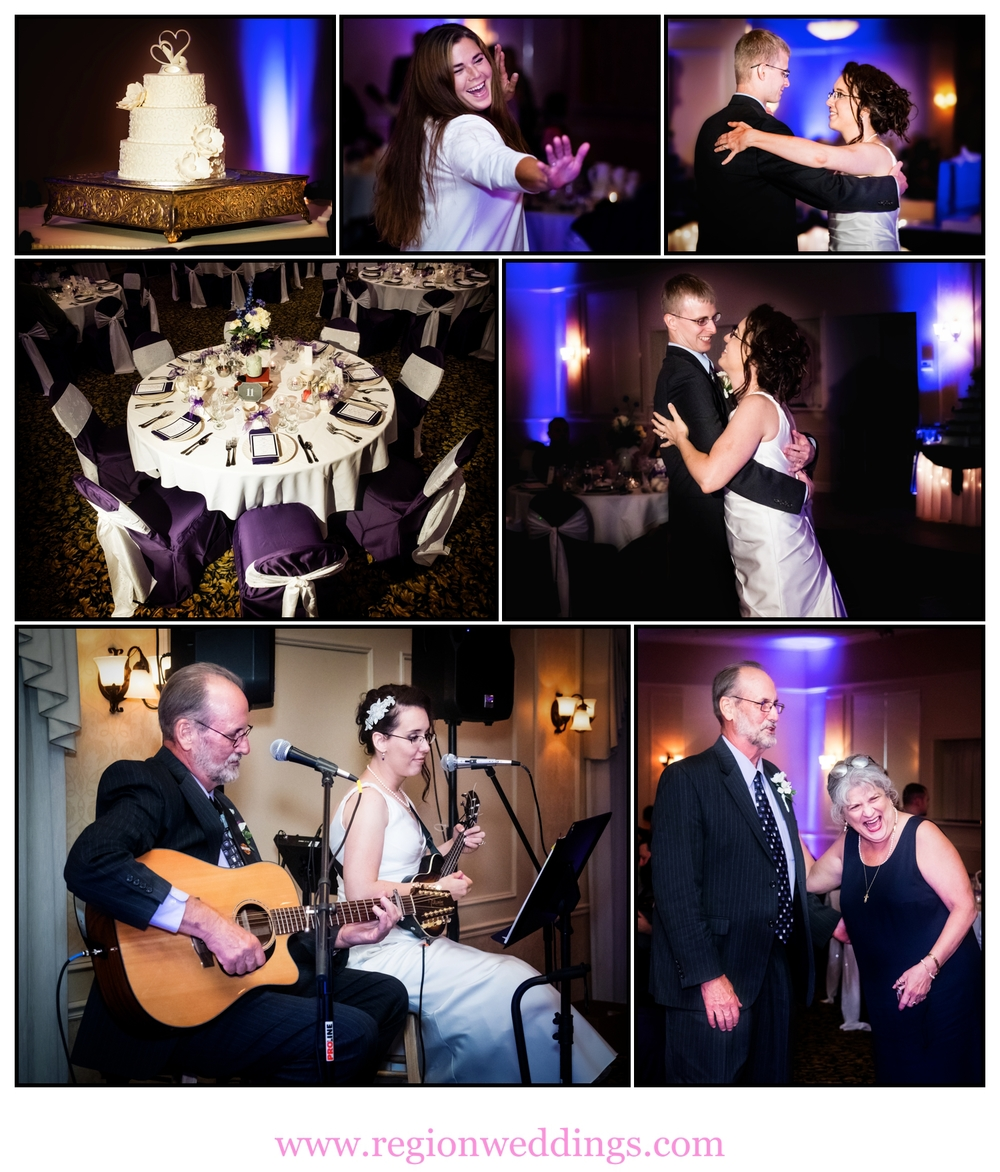 A wedding reception photo collage taken at the  Banquets of St. George.