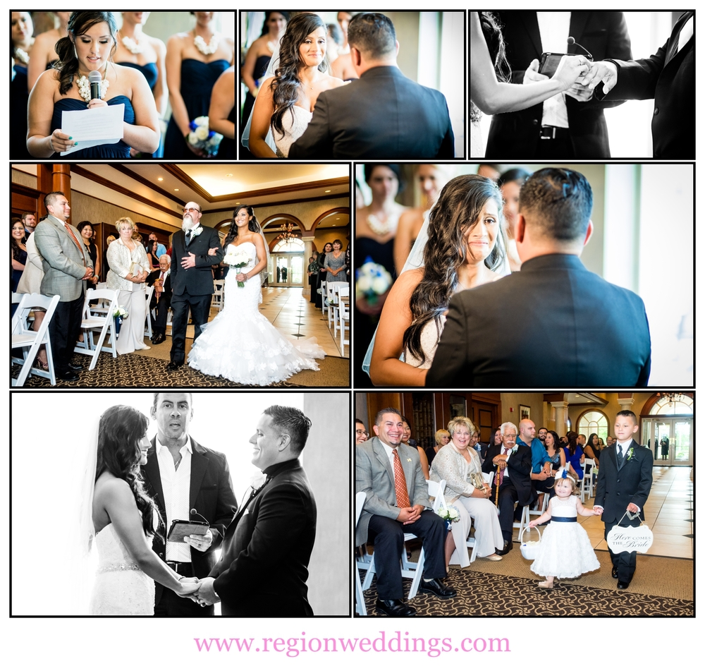 A photo collage of a wedding ceremony at Sand Creek in Chesterton, Indiana.