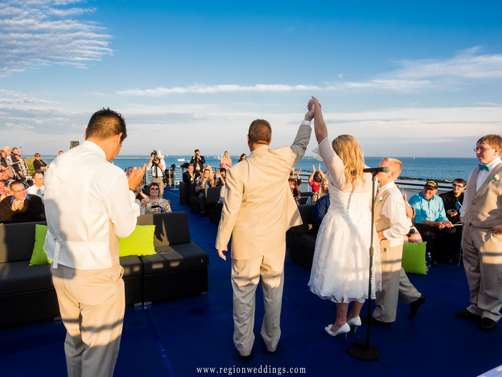 Just married on the Mystic Blue Cruise ship on Lake Michigan in Chicago.