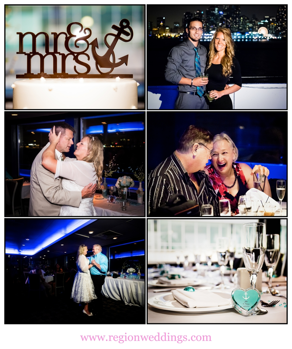 Wedding reception aboard the Mystic Blue cruise ship in Chicago.