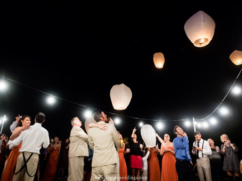 Sky lanterns fill the night sky during the first dance.
