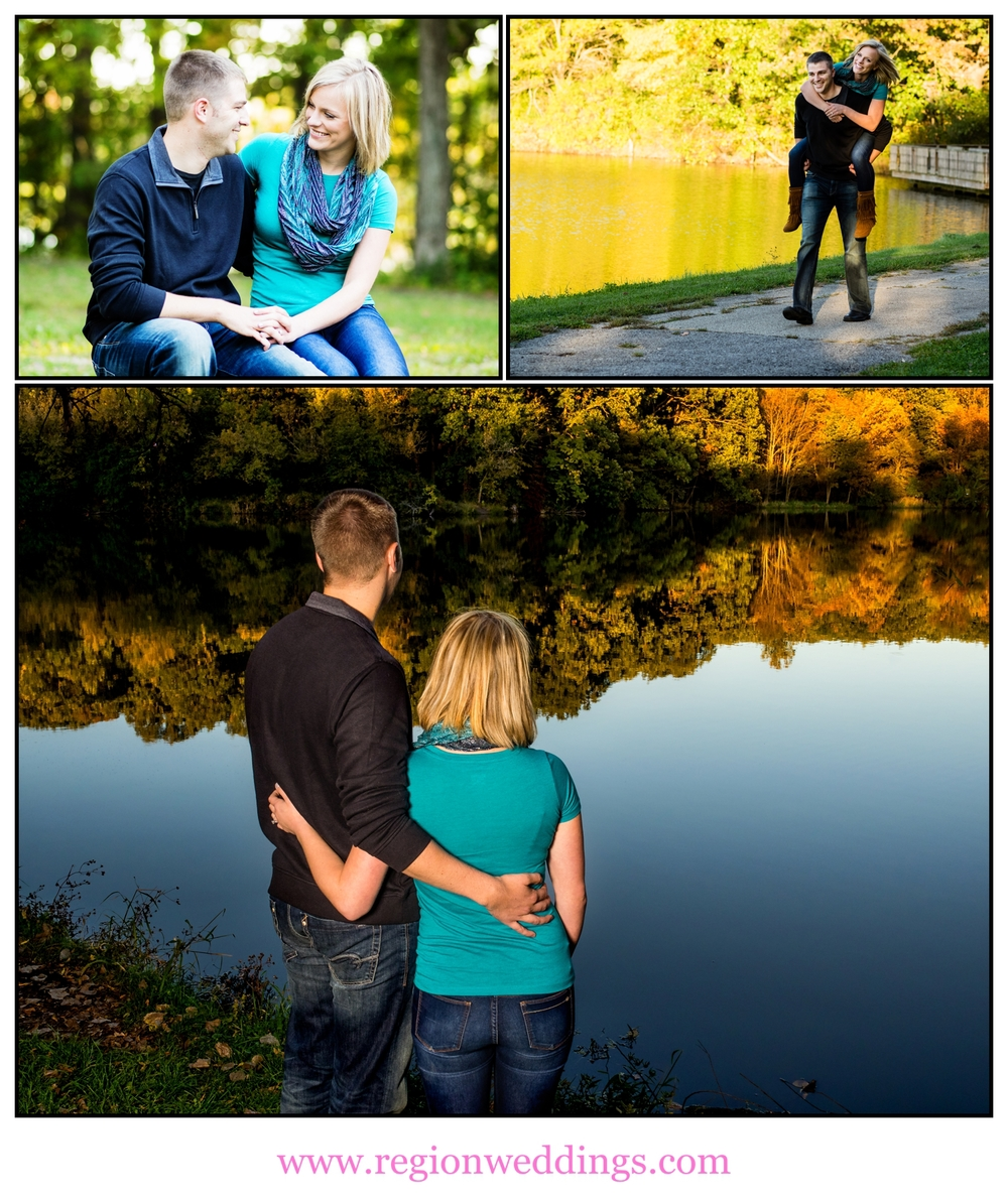 A collage of Fall engagement photos at Lemon Lake Park.