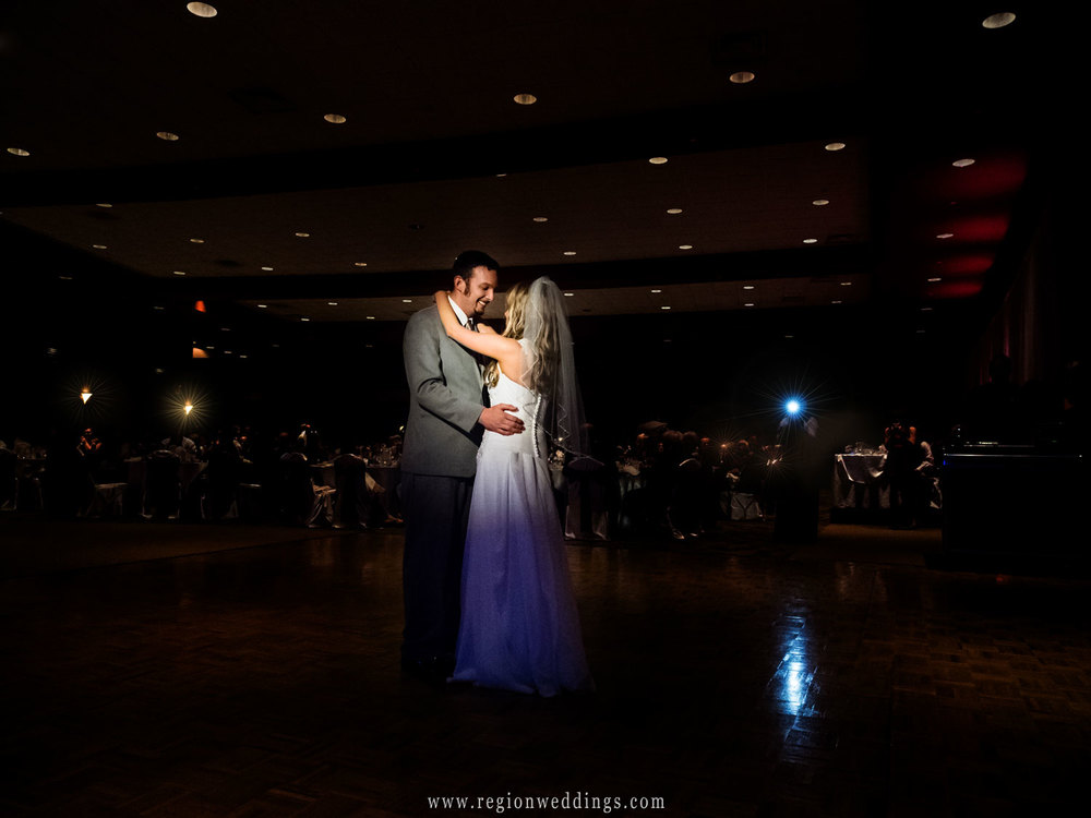 The bride and groom's first dance at Halls of St. George.