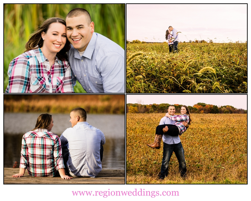 Romantic engagement portraits on a Midwest farm.