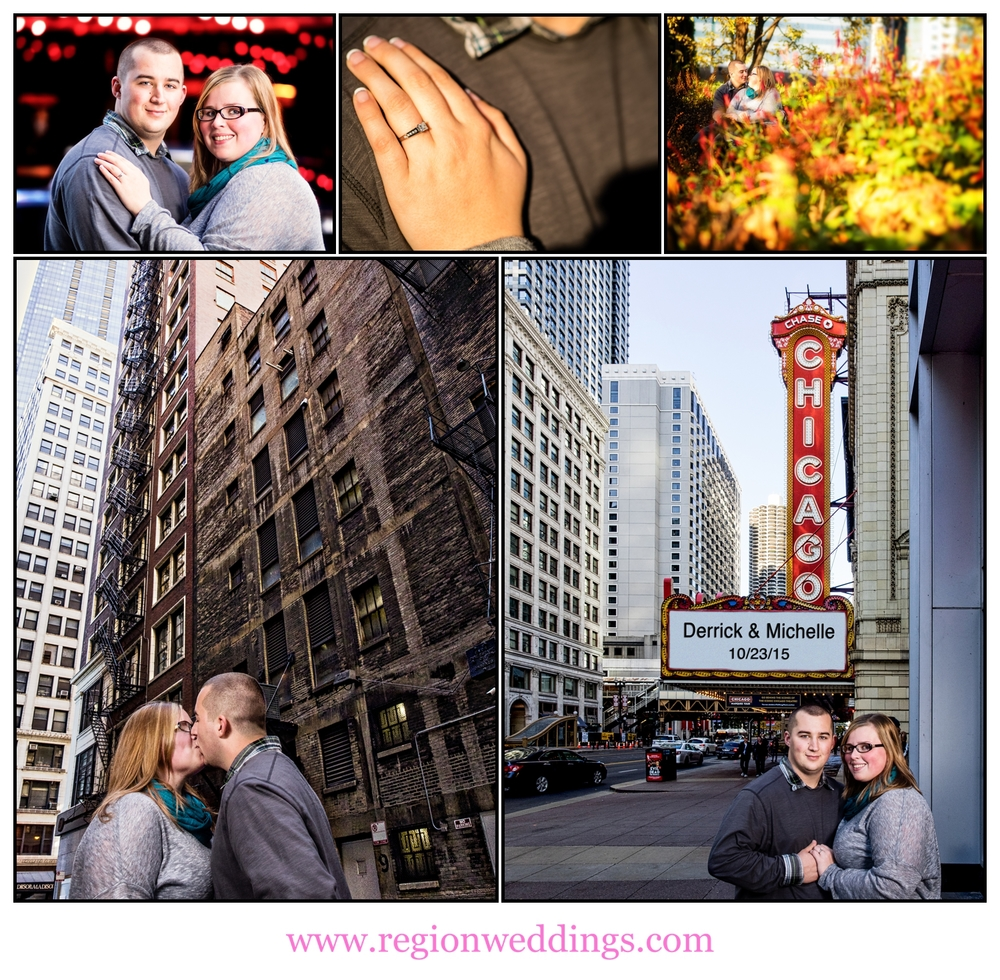 A photo collage of engagement photos in downtown Chicago.