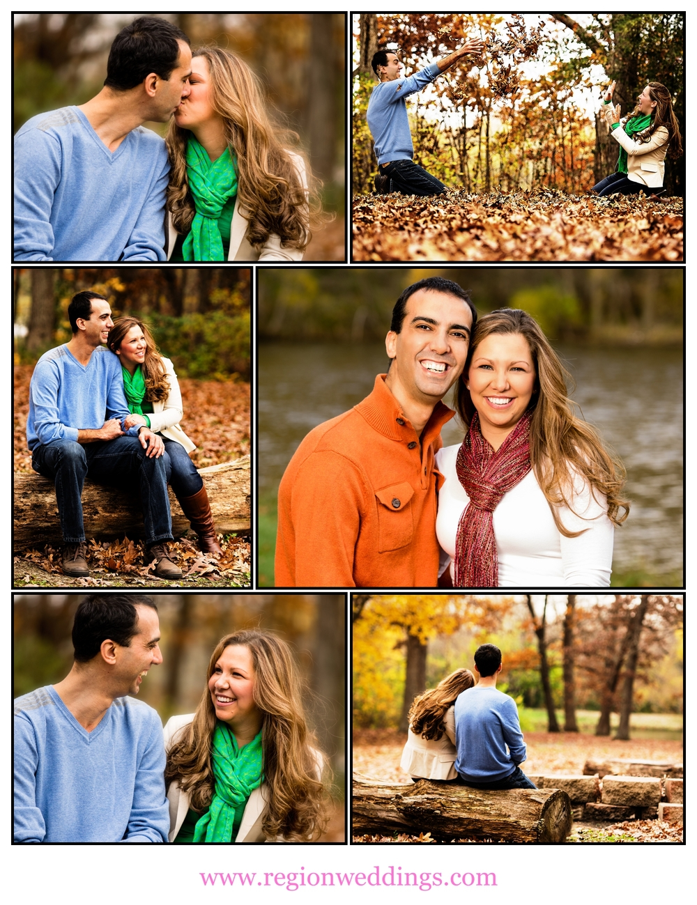 Autumn engagement photo collage.