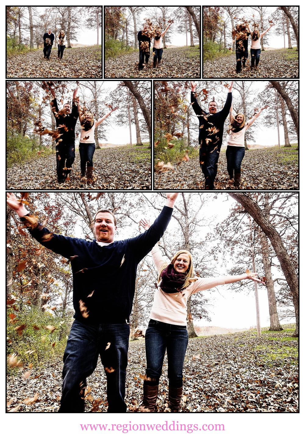Leaf throwing fun at Lemon Lake Park for an Autumn engagement session.