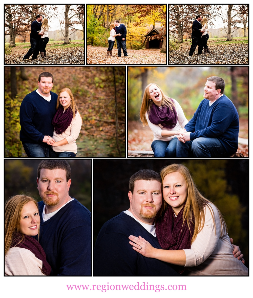 An Autumn engagement session in Crown Point, captured in a collage of images.