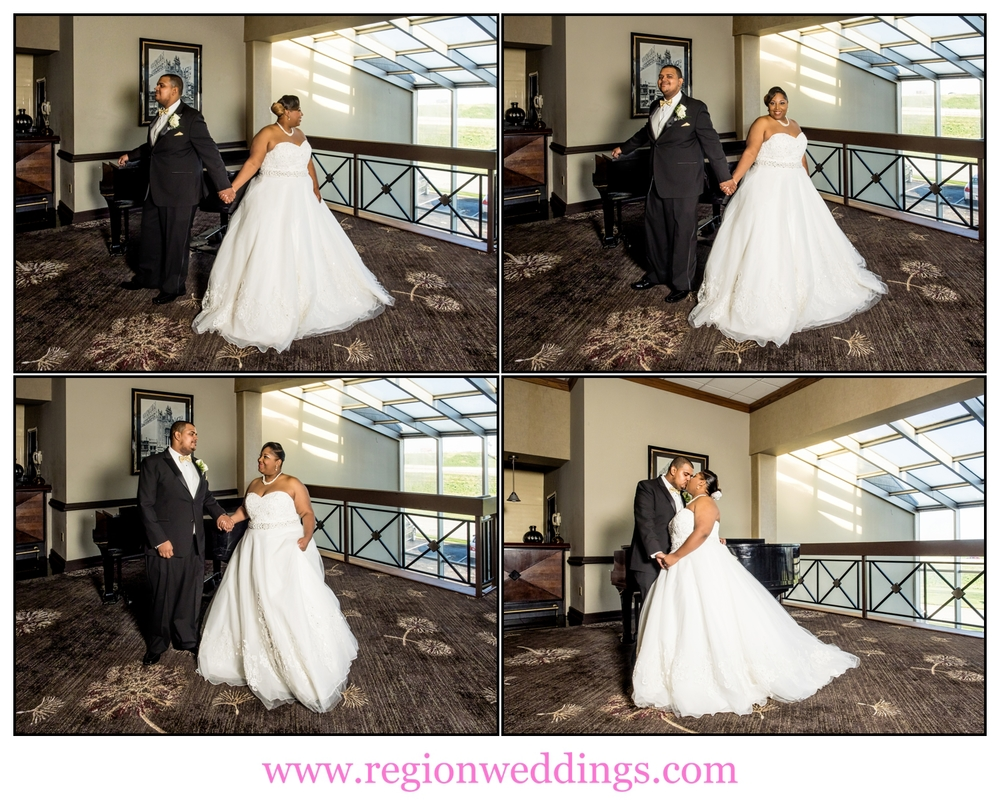 First look for the bride and groom at The Radisson in Merrillville.