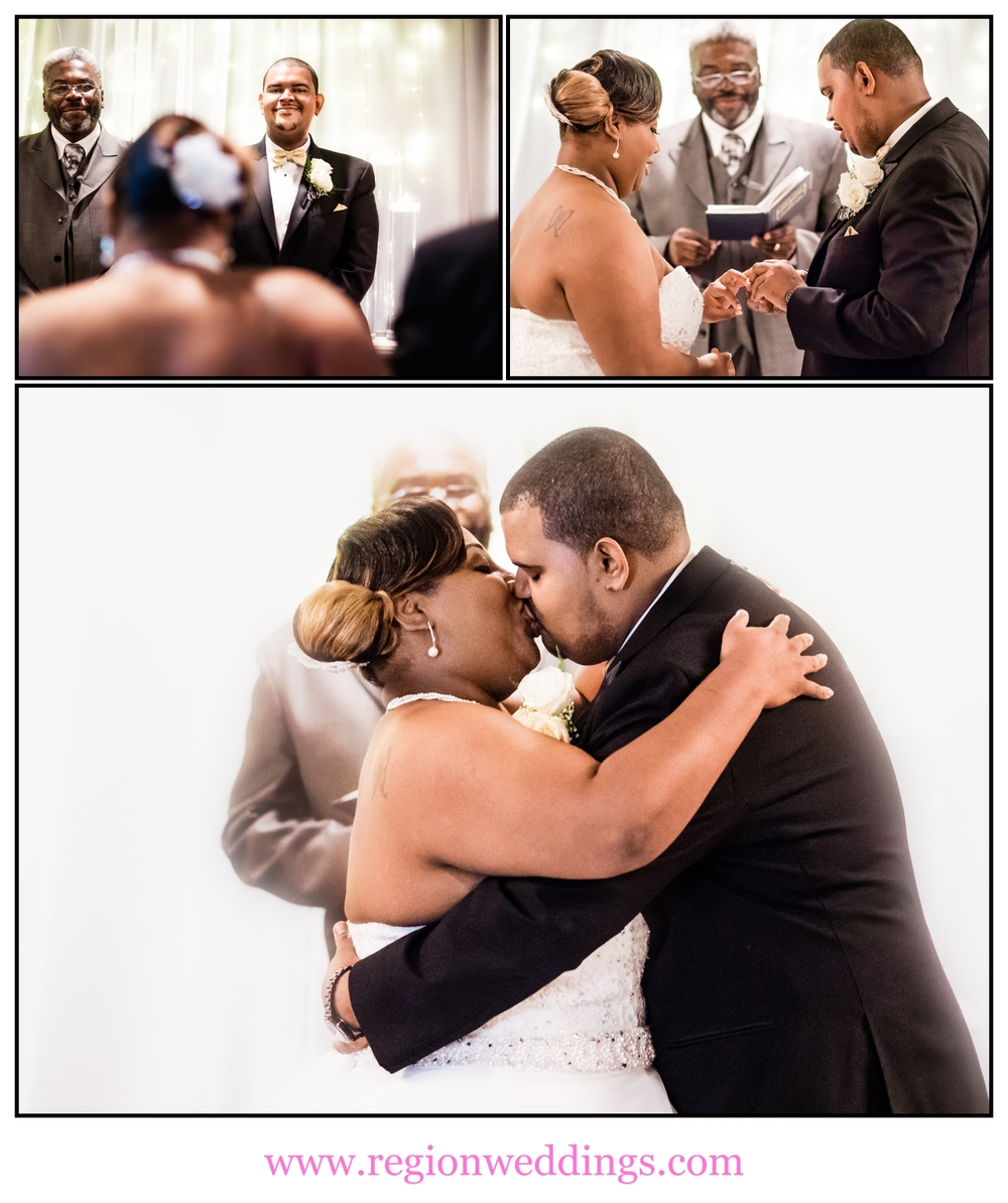 A collage of wedding ceremony photos at Radisson Hotel.