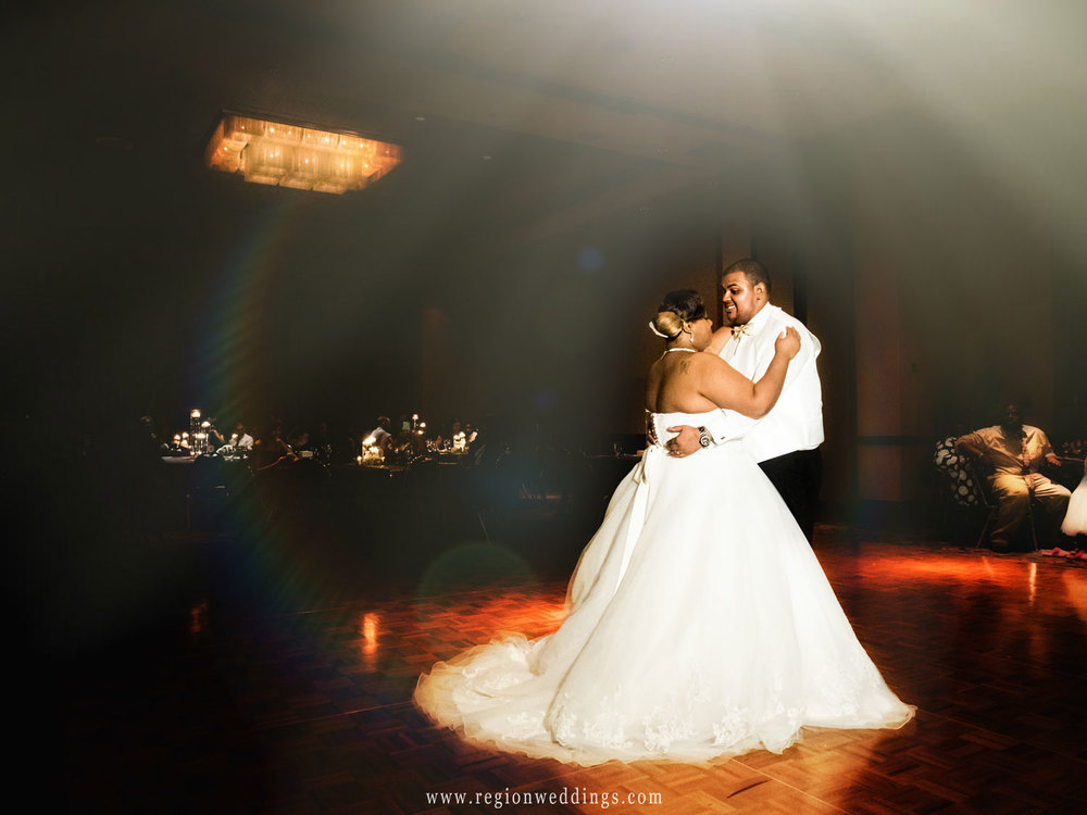 First dance for the bride and groom at the celebrity ballroom at Radisson Hotel.