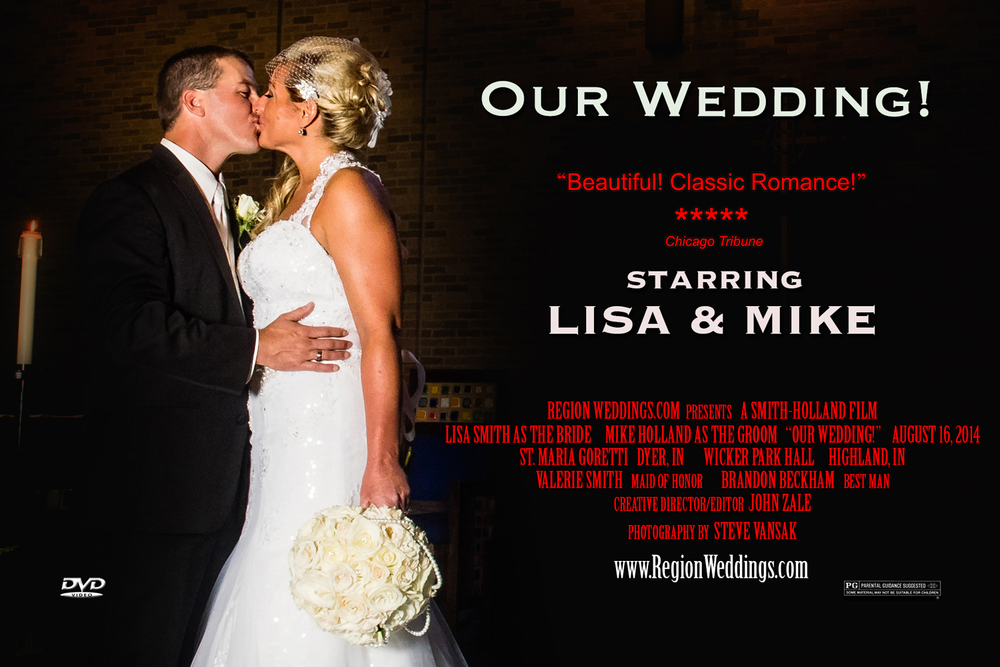 Above: The complimentary movie poster for booking a wedding film and photography package together.
