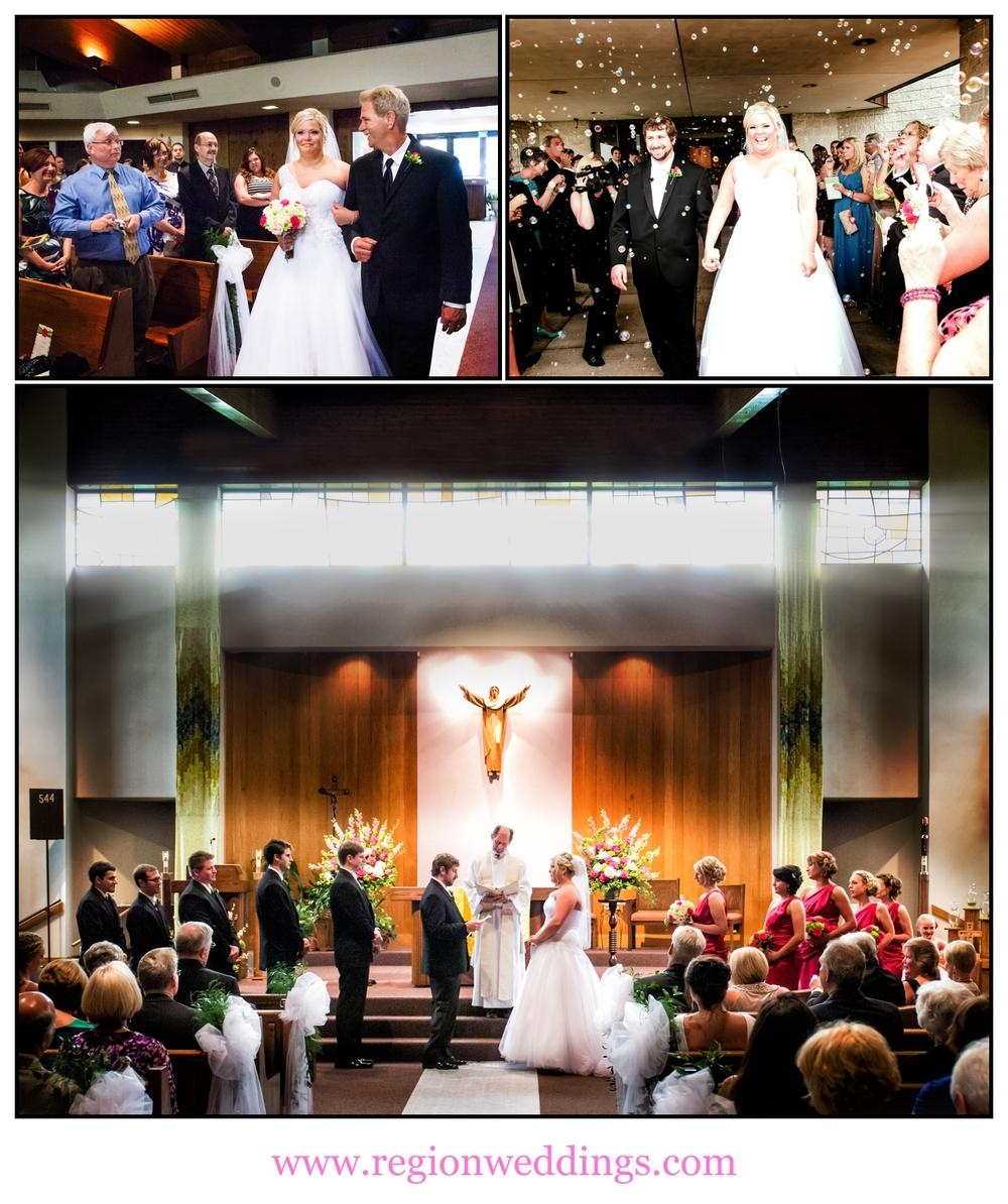 Wedding ceremony at St. Elizabeth Ann Seton in Valparaiso, Indiana.