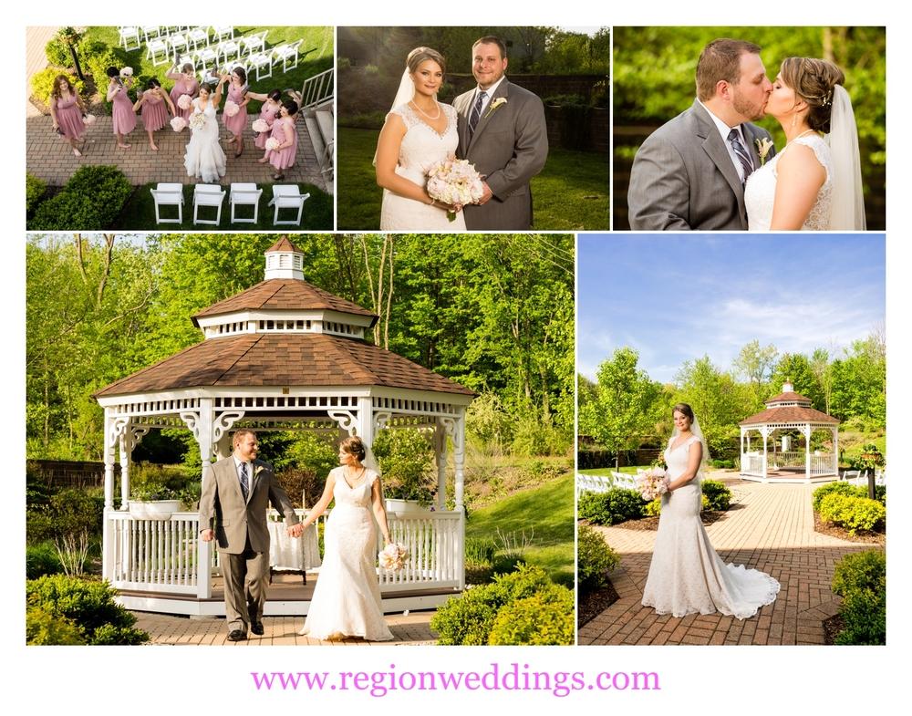 Wedding photos at the Trinity Hall gazebo.