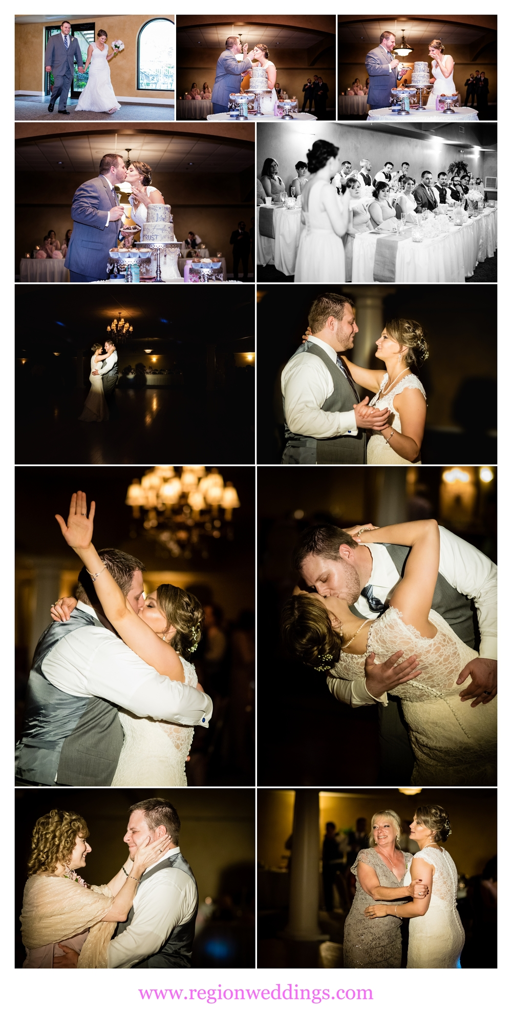 Wedding reception photo collage at Trinity Hall in Chesterton.
