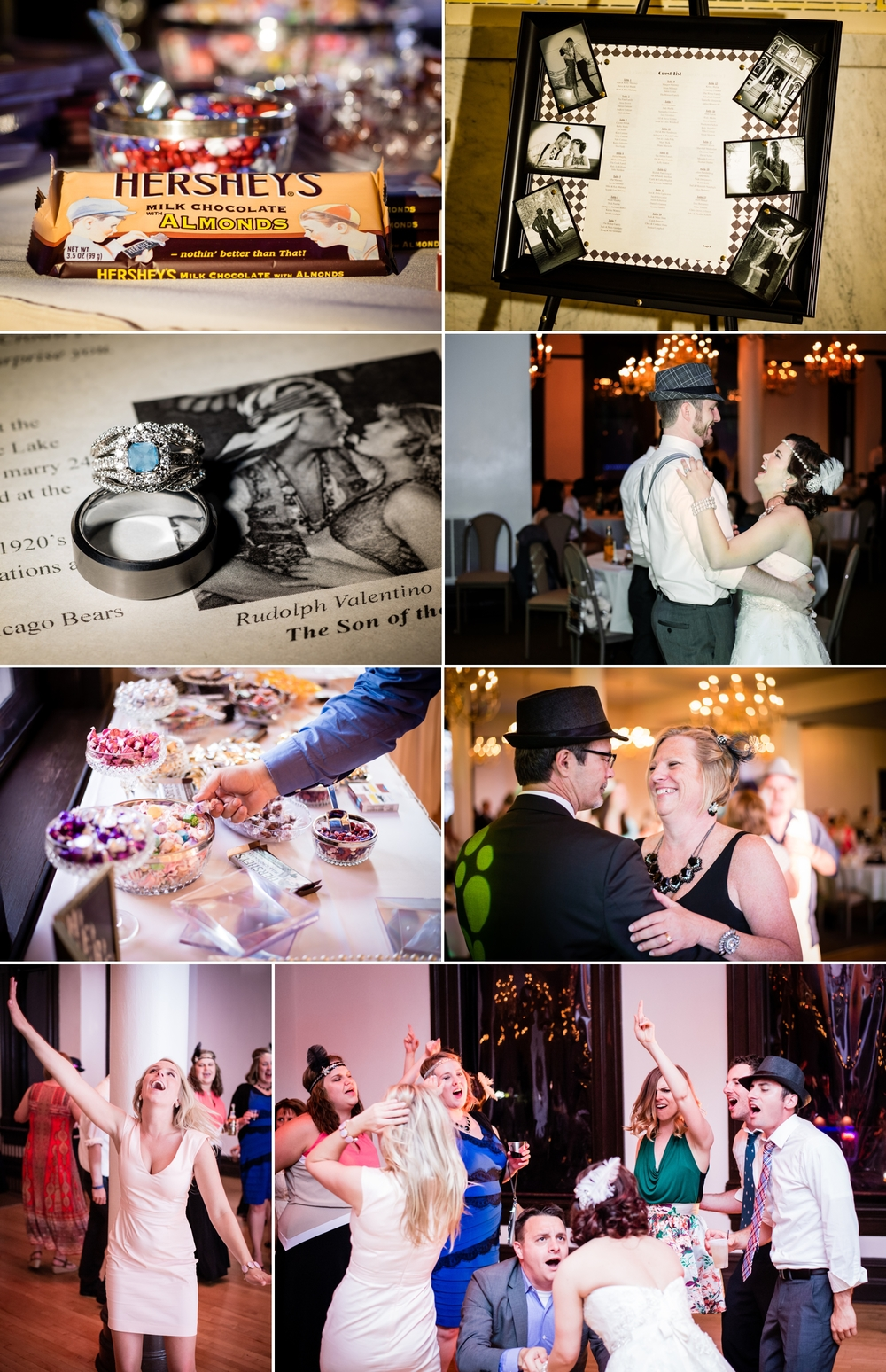 1920's themed wedding reception at the Crown Point Courthouse banquet room.