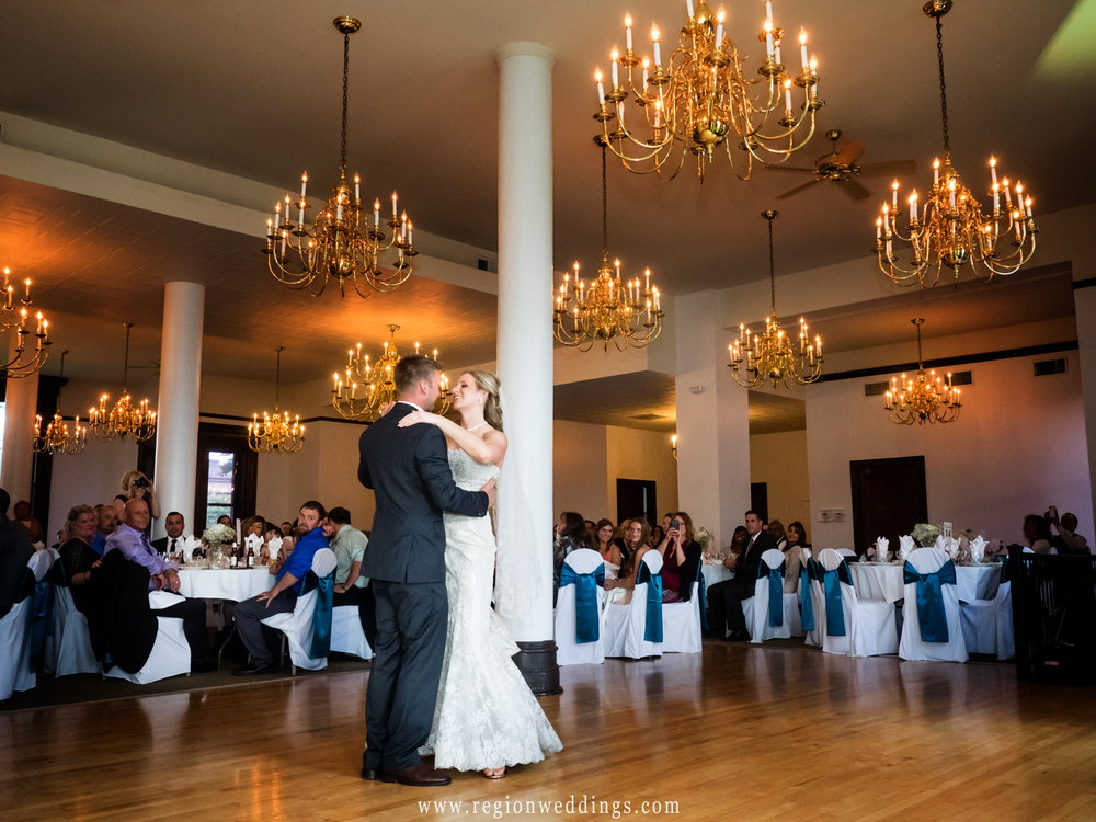 First dance under the chandeliers.